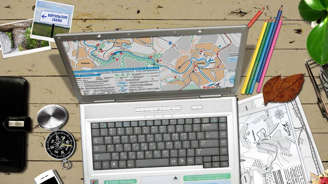 Работа над туристической картой Воргольских скал